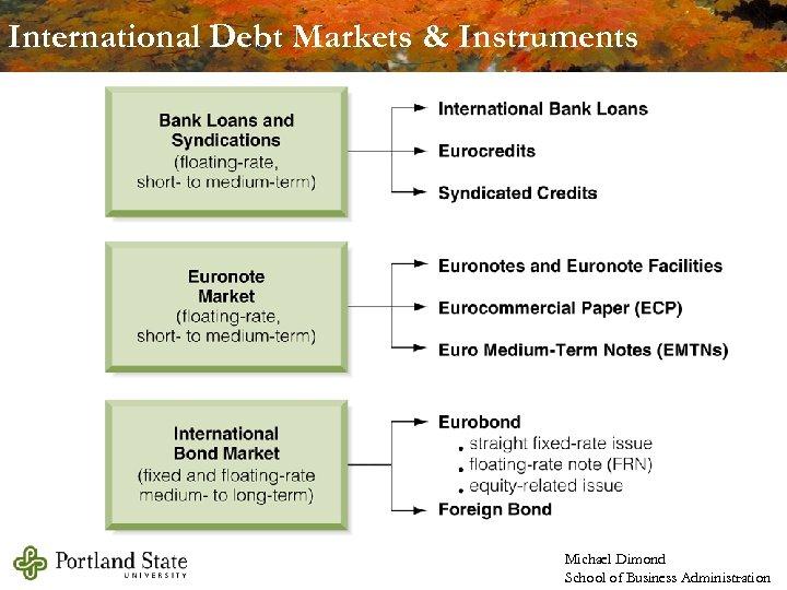 International Debt Markets & Instruments Michael Dimond School of Business Administration