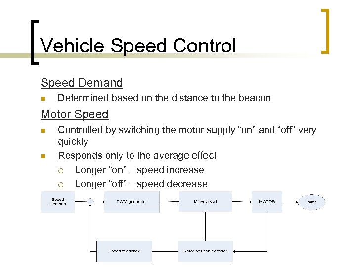 Vehicle Speed Control Speed Demand n Determined based on the distance to the beacon