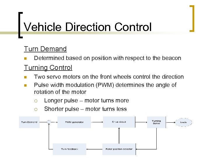 Vehicle Direction Control Turn Demand n Determined based on position with respect to the