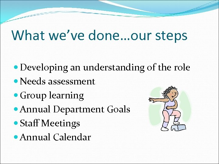 What we've done…our steps Developing an understanding of the role Needs assessment Group learning