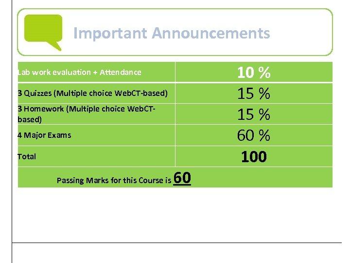 Important Announcements Lab work evaluation + Attendance 3 Quizzes (Multiple choice Web. CT-based) 3