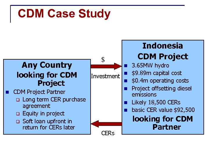CDM Case Study Any Country looking for CDM Project n CDM Project Partner q