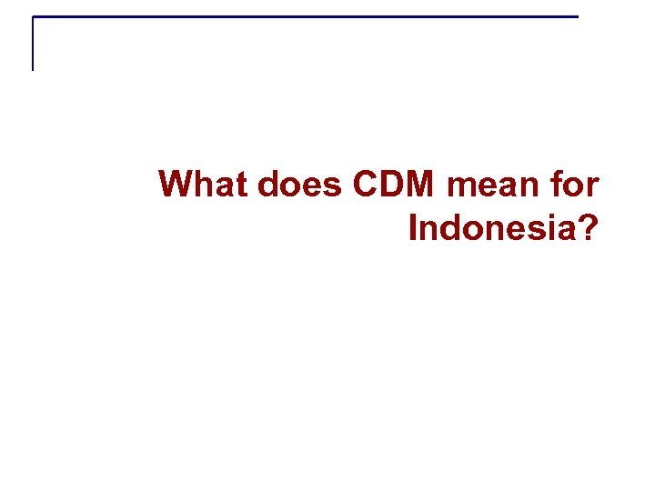 What does CDM mean for Indonesia?