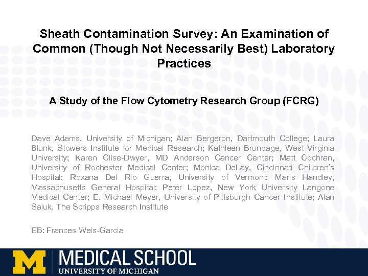Sheath Contamination Survey: An Examination of Common (Though Not Necessarily Best) Laboratory Practices A