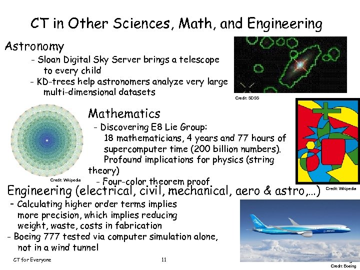 CT in Other Sciences, Math, and Engineering Astronomy - Sloan Digital Sky Server brings