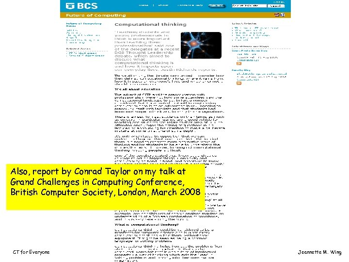 Also, report by Conrad Taylor on my talk at Grand Challenges in Computing Conference,