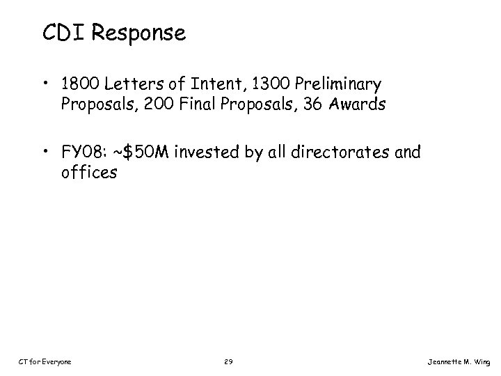 CDI Response • 1800 Letters of Intent, 1300 Preliminary Proposals, 200 Final Proposals, 36