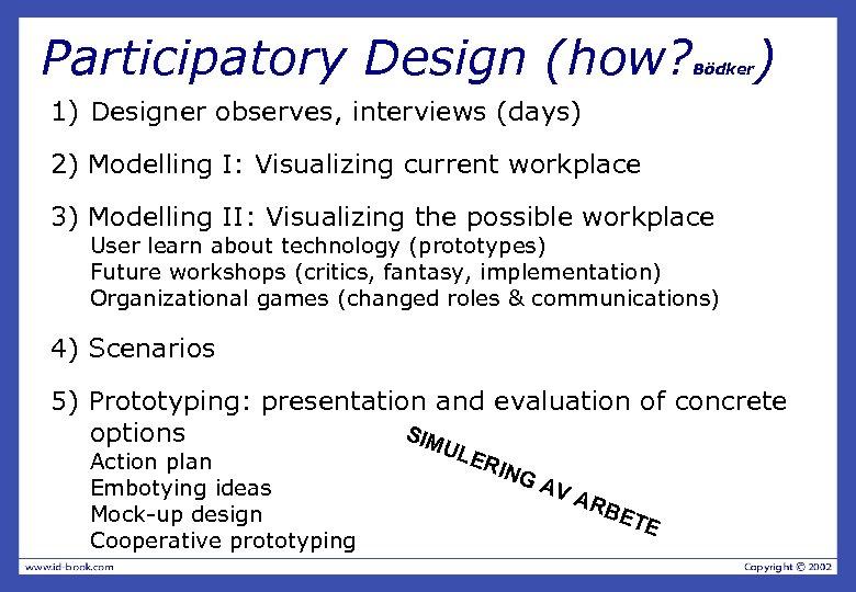 Participatory Design (how? Bödker ) 1) Designer observes, interviews (days) 2) Modelling I: Visualizing