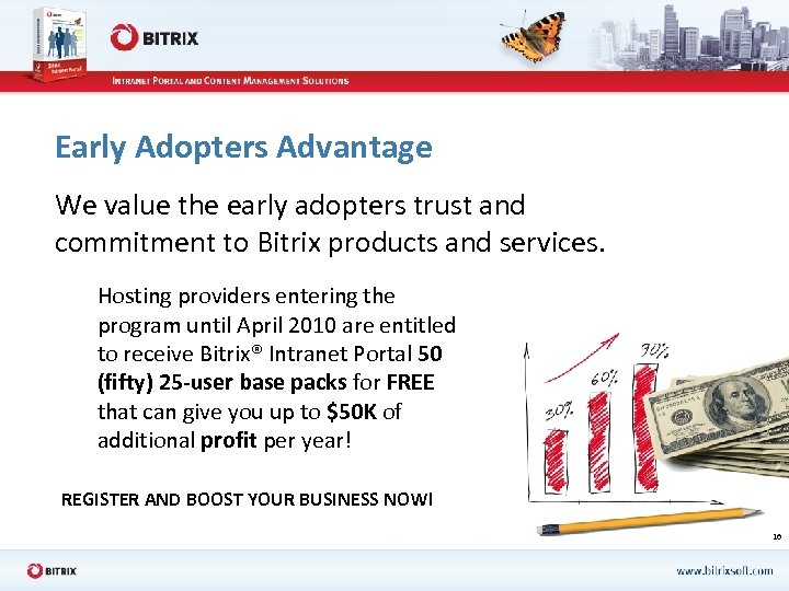 Early Adopters Advantage We value the early adopters trust and commitment to Bitrix products