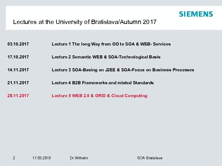 Lectures at the University of Bratislava/Autumn 2017 03. 10. 2017 Lecture 1 The long