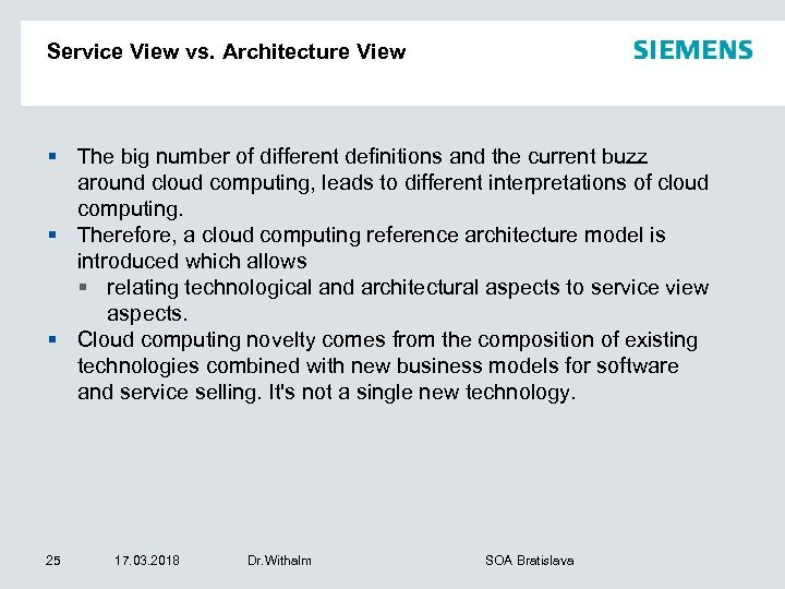 Service View vs. Architecture View § The big number of different definitions and the