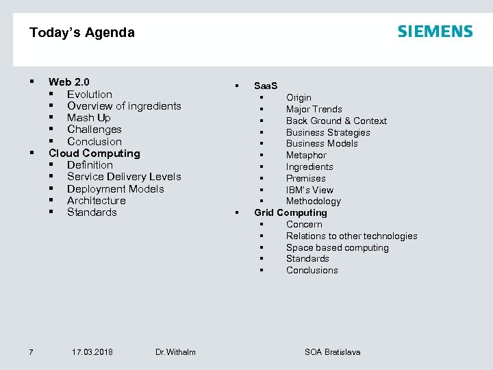 Today's Agenda § § 7 Web 2. 0 § Evolution § Overview of ingredients