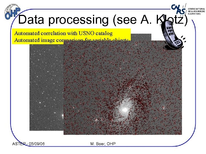 Data processing (see A. Klotz) Automated correlation with USNO catalog Automated image comparison for