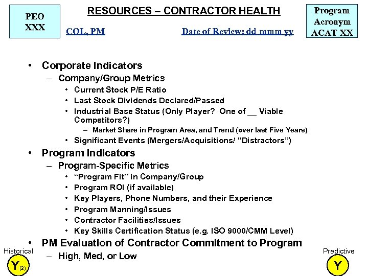 PEO XXX RESOURCES – CONTRACTOR HEALTH COL, PM Date of Review: dd mmm yy