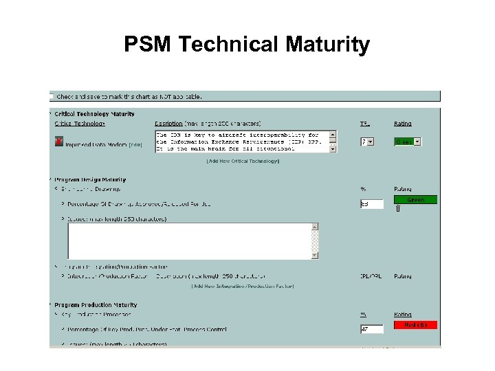 PSM Technical Maturity