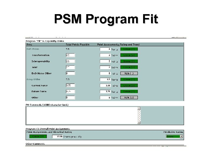 PSM Program Fit