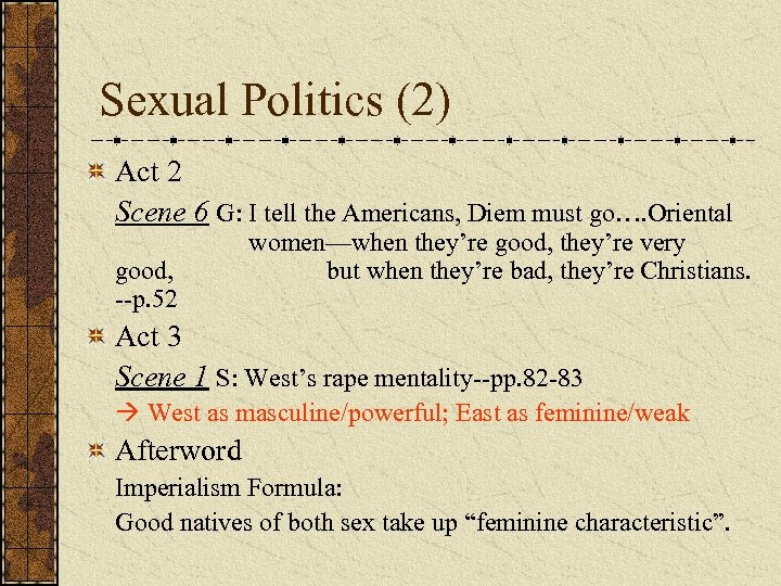 Sexual Politics (2) Act 2 Scene 6 G: I tell the Americans, Diem must