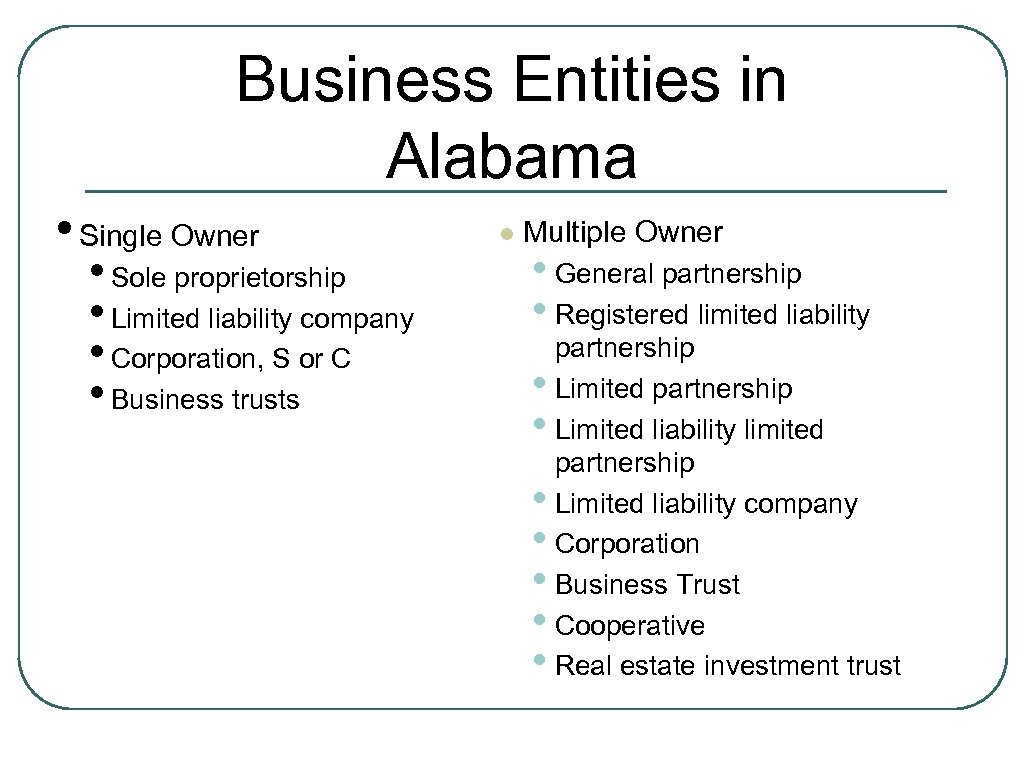Business Entities in Alabama • Single Owner • Sole proprietorship • Limited liability company