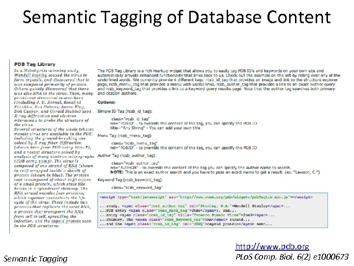 Semantic Tagging of Database Content Semantic Tagging http: //www. pdb. org PLo. S Comp.