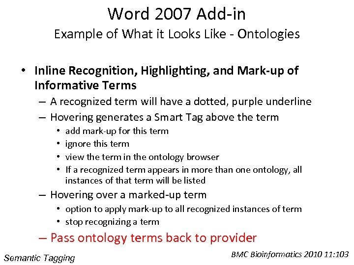 Word 2007 Add-in Example of What it Looks Like - Ontologies • Inline Recognition,