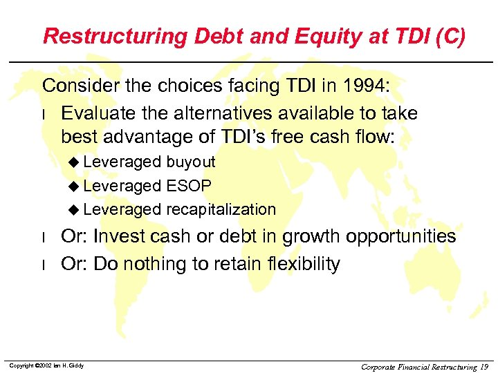 Restructuring Debt and Equity at TDI (C) Consider the choices facing TDI in 1994: