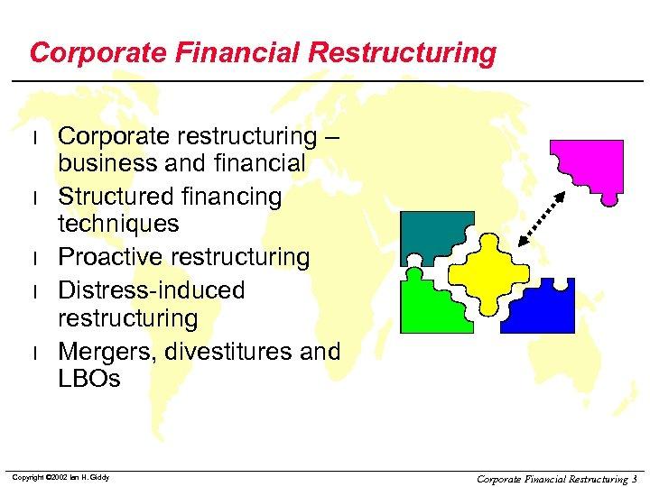 Corporate Financial Restructuring l l l Corporate restructuring – business and financial Structured financing