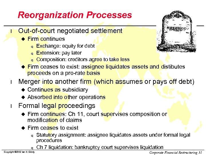 Reorganization Processes l Out-of-court negotiated settlement u Firm continues q q q u l
