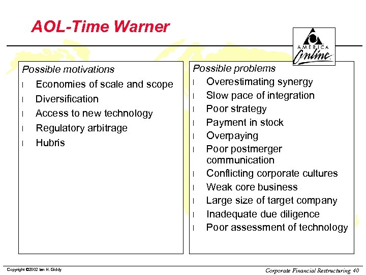 AOL-Time Warner Possible motivations l Economies of scale and scope l Diversification l Access