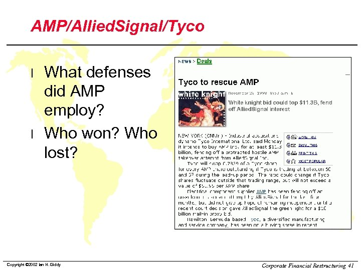 AMP/Allied. Signal/Tyco l l What defenses did AMP employ? Who won? Who lost? Copyright