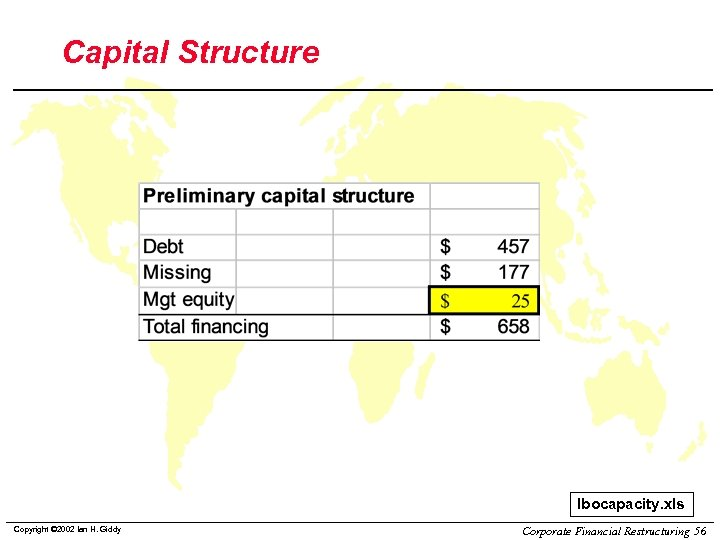Capital Structure lbocapacity. xls Copyright © 2002 Ian H. Giddy Corporate Financial Restructuring 56