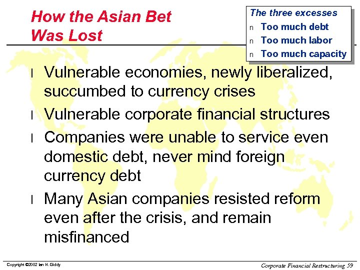 How the Asian Bet Was Lost l l The three excesses n Too much