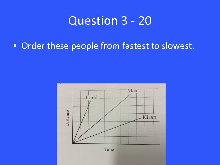 Question 3 - 20 • Order these people from fastest to slowest.
