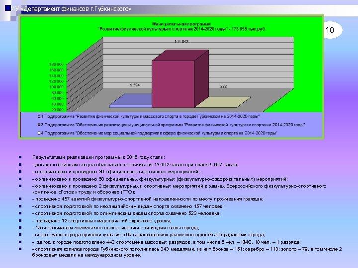 МУ «Департамент финансов г. Губкинского» 10 n n n n Результатами реализации программы в