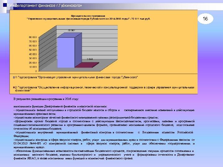 МУ «Департамент финансов г. Губкинского» 16 В результате реализации программы в 2016 году: выполнялись