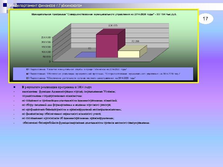 МУ «Департамент финансов г. Губкинского» 17 В результате реализации программы в 2016 году: -