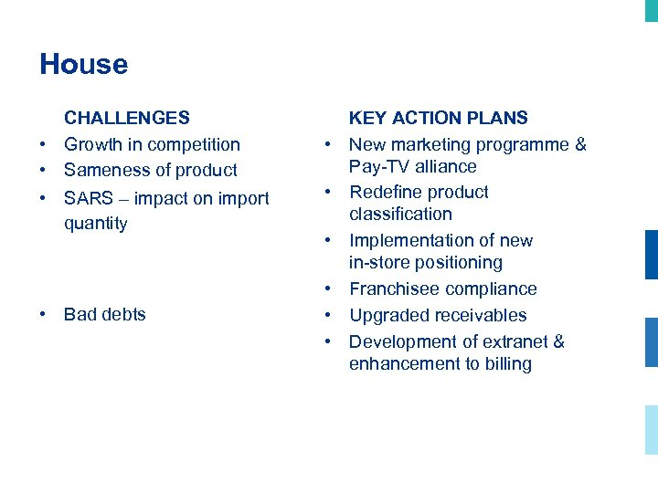 House CHALLENGES • Growth in competition • Sameness of product • SARS – impact