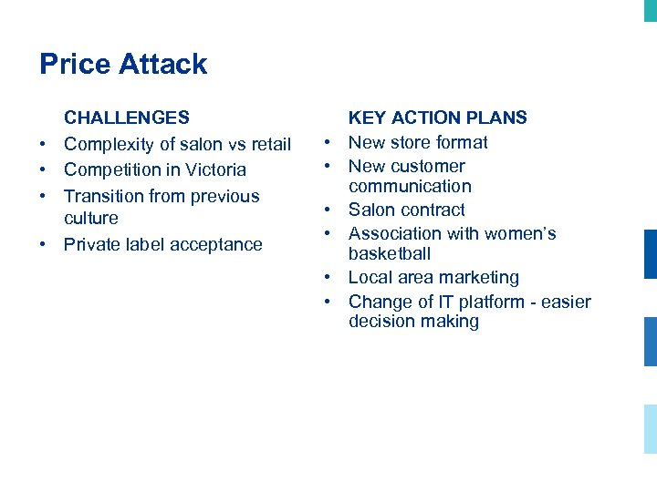Price Attack • • CHALLENGES Complexity of salon vs retail Competition in Victoria Transition
