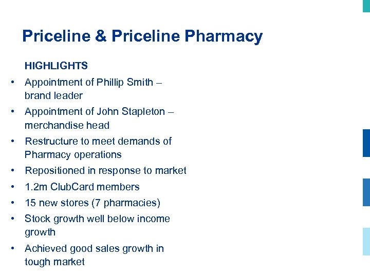 Priceline & Priceline Pharmacy HIGHLIGHTS • Appointment of Phillip Smith – brand leader •