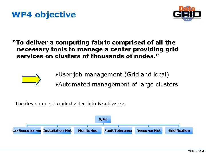 """WP 4 objective """"To deliver a computing fabric comprised of all the necessary tools"""