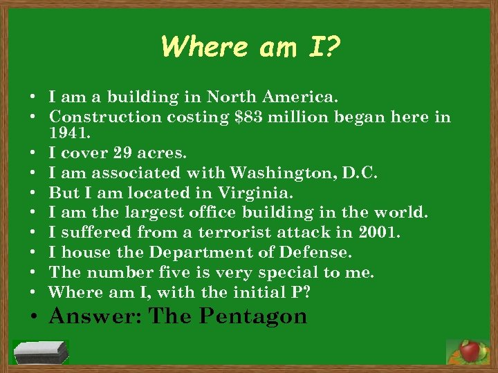 Where am I? • I am a building in North America. • Construction costing