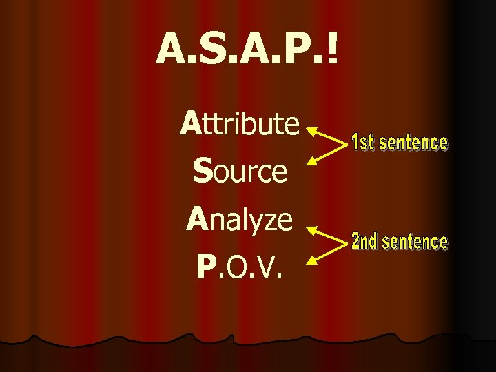 A. S. A. P. ! Attribute Source Analyze P. O. V.