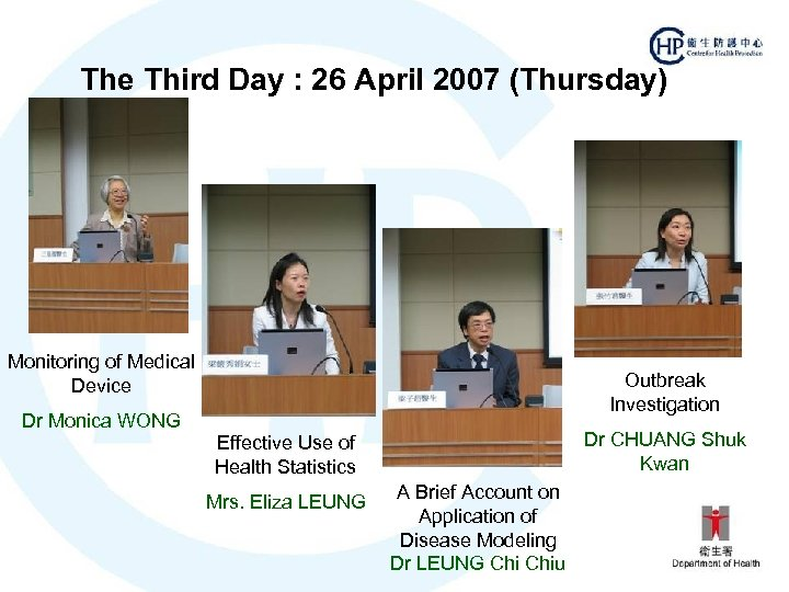 The Third Day : 26 April 2007 (Thursday) Monitoring of Medical Device Dr Monica