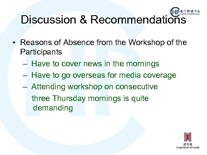 Discussion & Recommendations • Reasons of Absence from the Workshop of the Participants –