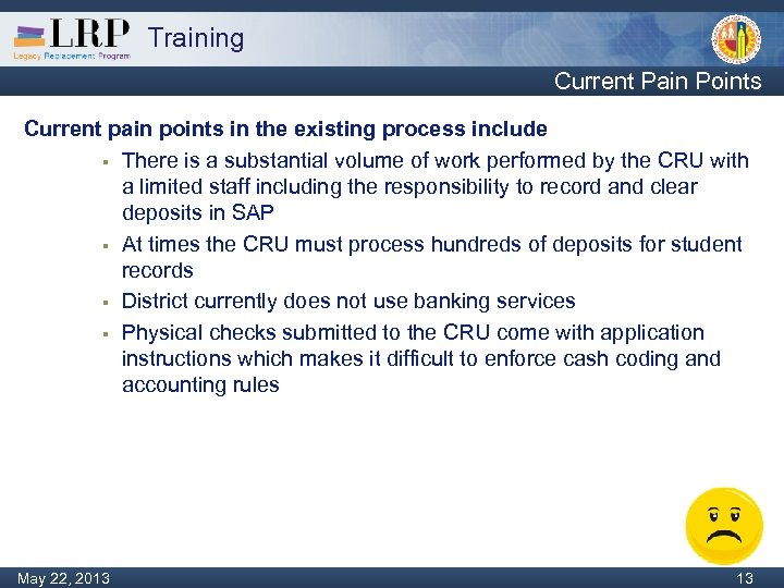 Training Current Pain Points Current pain points in the existing process include § There