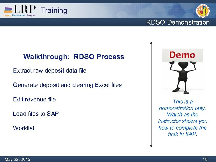 Training RDSO Demonstration Walkthrough: RDSO Process Extract raw deposit data file Generate deposit and