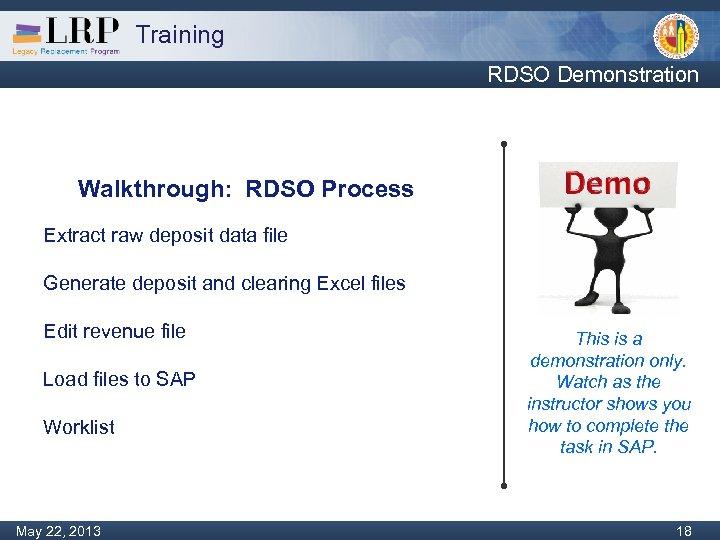 Training RDSO Demonstration Walkthrough: RDSO Process Extract raw deposit data file Generate deposit and