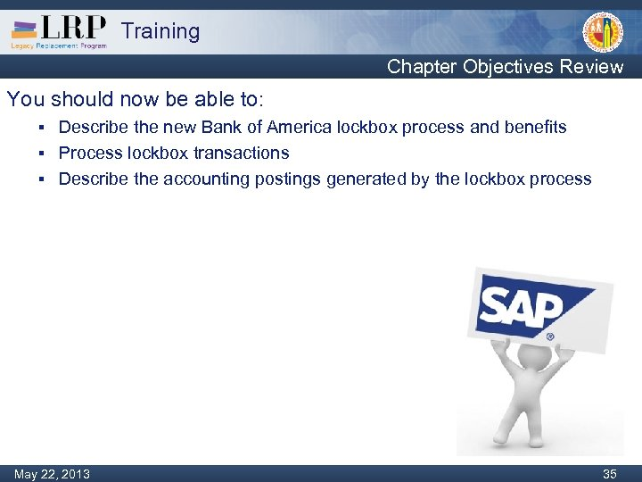 Training Chapter Objectives Review You should now be able to: Describe the new Bank