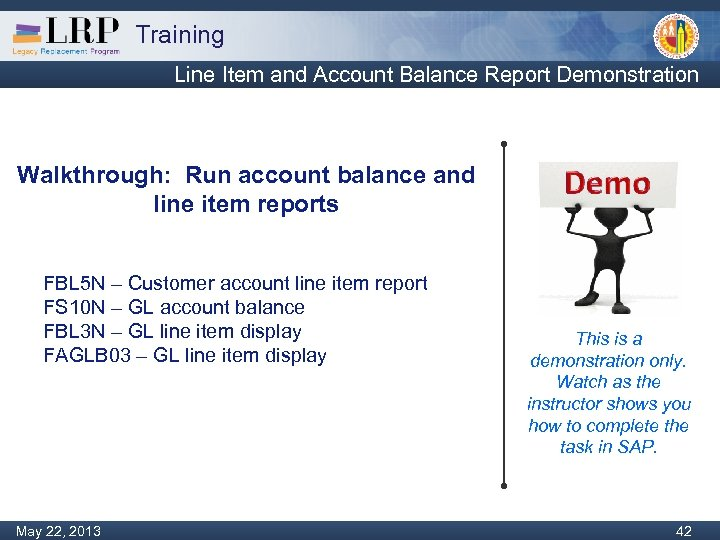 Training Line Item and Account Balance Report Demonstration Walkthrough: Run account balance and line