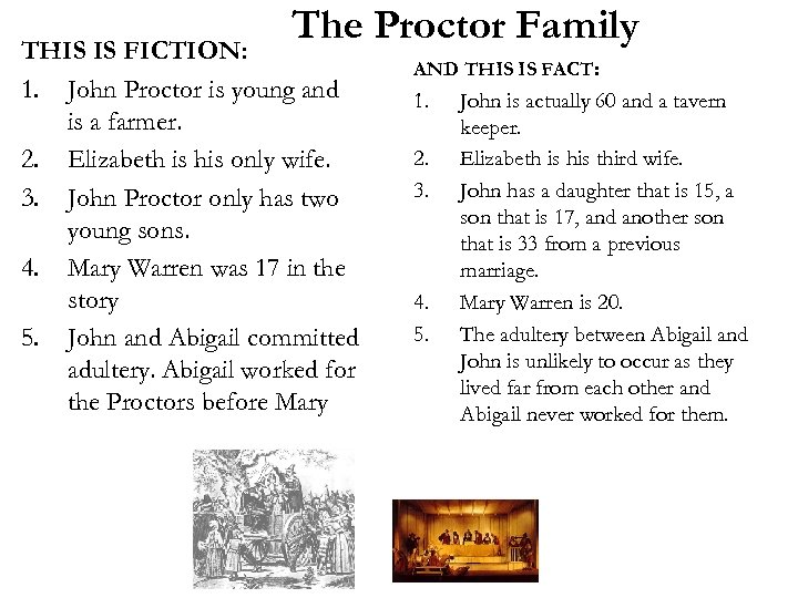 The Proctor Family THIS IS FICTION: 1. John Proctor is young and is a
