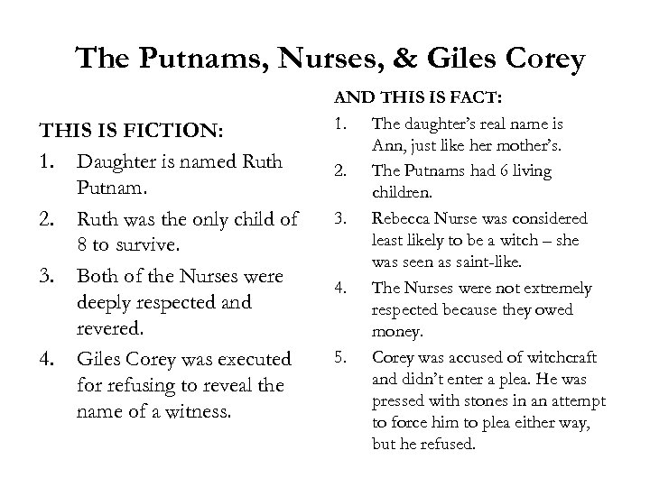 The Putnams, Nurses, & Giles Corey THIS IS FICTION: 1. Daughter is named Ruth